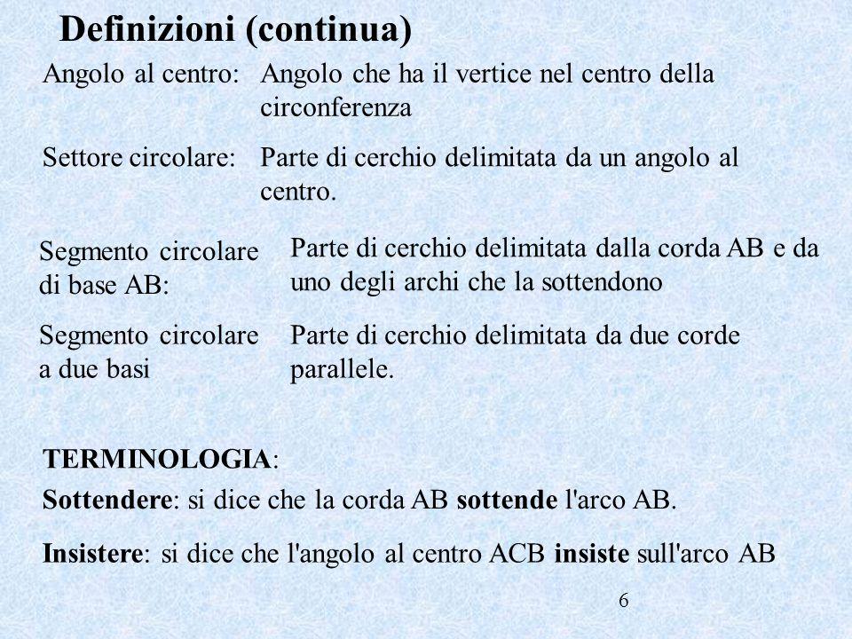 6 Angolo al centro: Definizioni (continua) Angolo che ha il vertice nel centro della circonferenza Segmento circolare di base AB: Parte di cerchio del