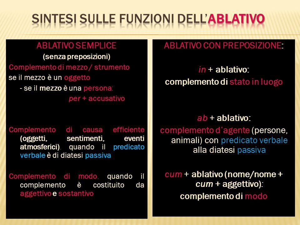 ABLATIVO SEMPLICE (senza preposizioni) Complemento di mezzo / strumento oggetto se il mezzo è un oggetto mezzo persona - se il mezzo è una persona: pe