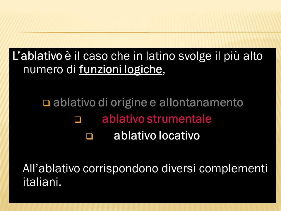 L'ablativo funzioni logiche L'ablativo è il caso che in latino svolge il più alto numero di funzioni logiche,  ablativo di origine e allontanamento a