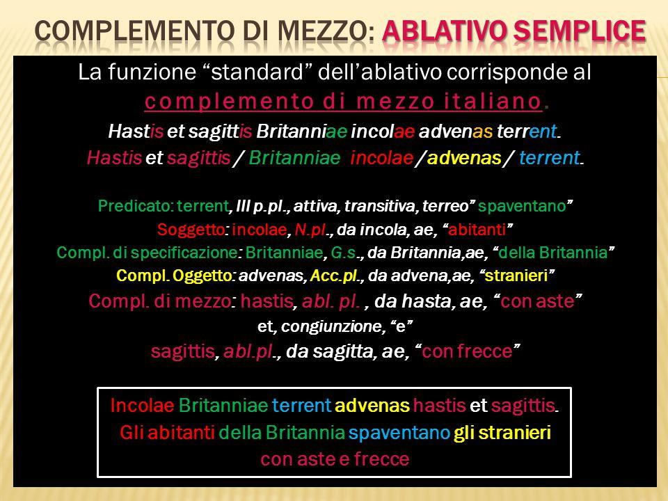 """complemento di mezzo italiano La funzione """"standard"""" dell'ablativo corrisponde al complemento di mezzo italiano. Hastis et sagittis Britanniae incolae"""