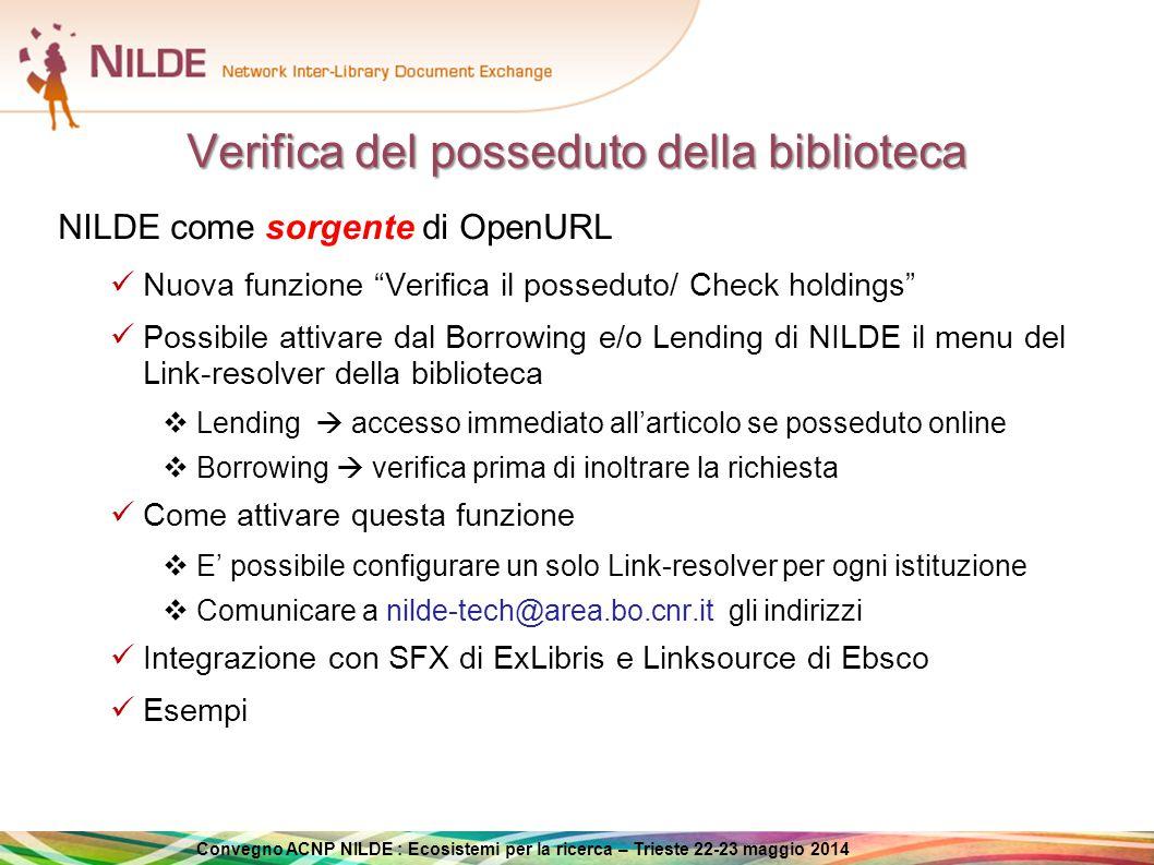 Convegno ACNP NILDE : Ecosistemi per la ricerca – Trieste 22-23 maggio 2014 Verifica del posseduto della biblioteca (Lending)