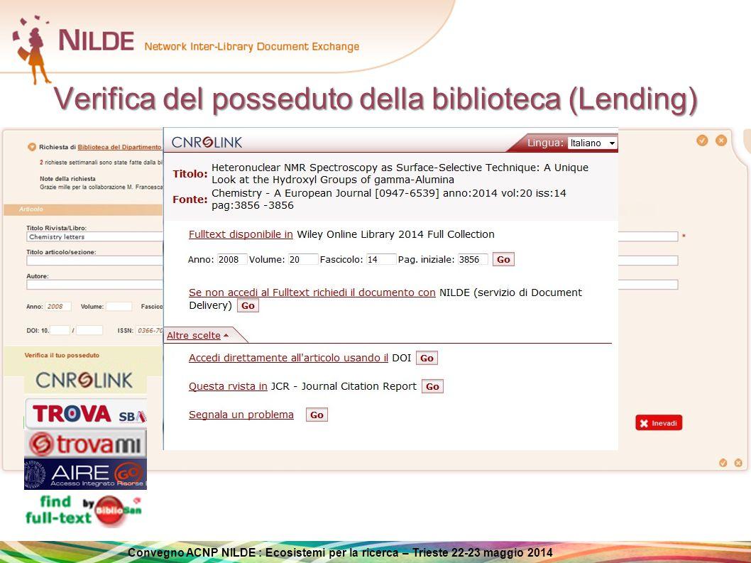Convegno ACNP NILDE : Ecosistemi per la ricerca – Trieste 22-23 maggio 2014 Tecnologie Banche dati OpenURL ILL Software Lending Borrowing Utente Biblioteca richiedente Biblioteca fornitrice OpenURL Check holdings Interfacce