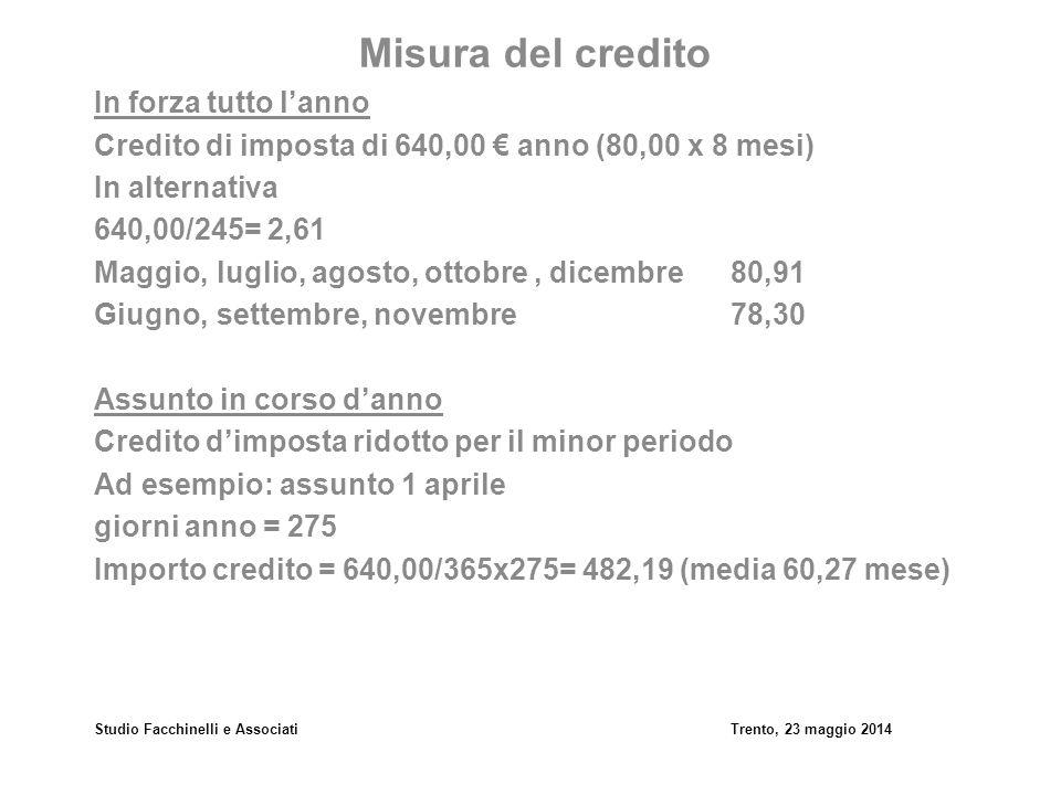 Studio Facchinelli e AssociatiTrento, 23 maggio 2014 Misura del credito In forza tutto l'anno Credito di imposta di 640,00 € anno (80,00 x 8 mesi) In
