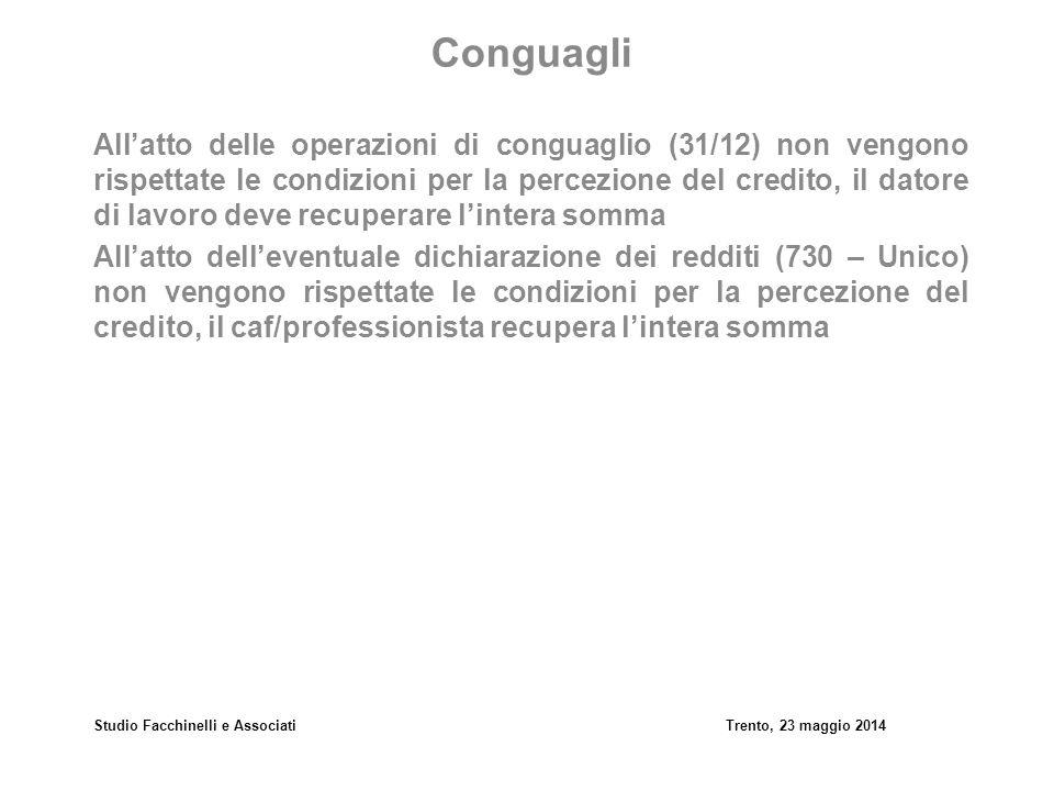 Studio Facchinelli e AssociatiTrento, 23 maggio 2014 Conguagli All'atto delle operazioni di conguaglio (31/12) non vengono rispettate le condizioni pe