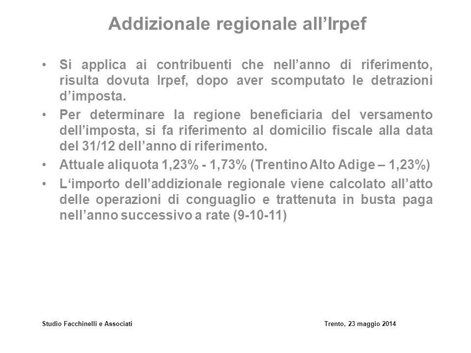 Studio Facchinelli e AssociatiTrento, 23 maggio 2014 Addizionale comunale all'Irpef Si applica ai contribuenti che nell'anno di riferimento, risulta dovuta Irpef, dopo aver scomputato le detrazioni d'imposta.