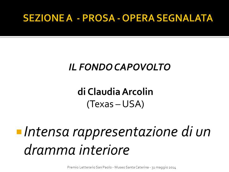 IL FONDO CAPOVOLTO di Claudia Arcolin (Texas – USA)  Intensa rappresentazione di un dramma interiore Premio Letterario San Paolo - Museo Santa Cateri