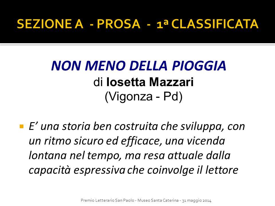 NON MENO DELLA PIOGGIA di Iosetta Mazzari (Vigonza - Pd)  E' una storia ben costruita che sviluppa, con un ritmo sicuro ed efficace, una vicenda lont