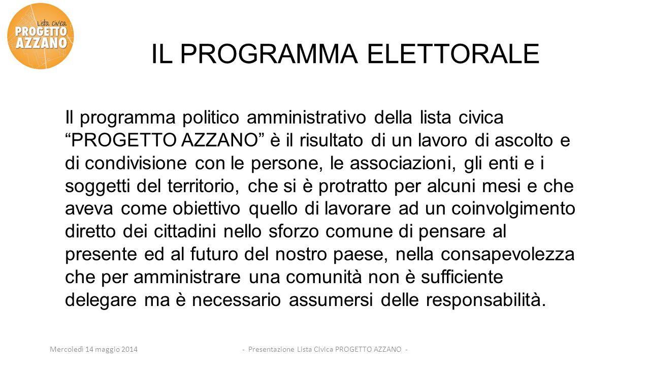 - Presentazione Lista Civica PROGETTO AZZANO -Mercoledì 14 maggio 2014 IL PROGRAMMA ELETTORALE Il programma politico amministrativo della lista civica