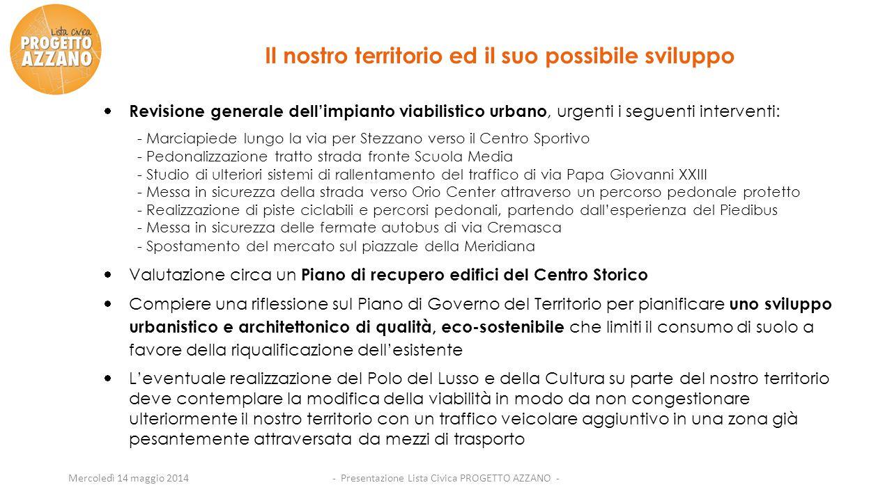 Mercoledì 14 maggio 2014  Revisione generale dell'impianto viabilistico urbano, urgenti i seguenti interventi: - Marciapiede lungo la via per Stezzan