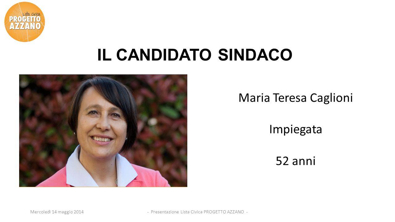 Mercoledì 14 maggio 2014 IL CANDIDATO SINDACO Maria Teresa Caglioni Impiegata 52 anni