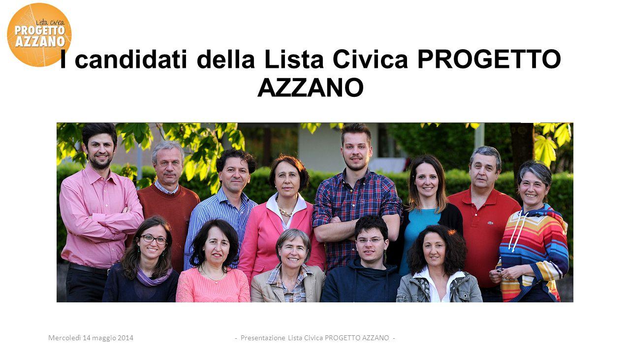 - Presentazione Lista Civica PROGETTO AZZANO -Mercoledì 14 maggio 2014 I candidati della Lista Civica PROGETTO AZZANO