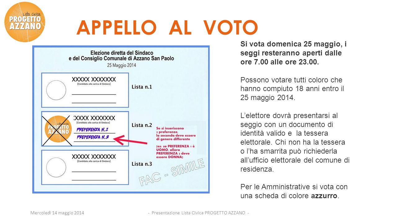 - Presentazione Lista Civica PROGETTO AZZANO -Mercoledì 14 maggio 2014 APPELLO AL VOTO Si vota domenica 25 maggio, i seggi resteranno aperti dalle ore