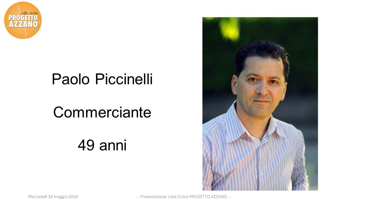 - Presentazione Lista Civica PROGETTO AZZANO -Mercoledì 14 maggio 2014 Paolo Piccinelli Commerciante 49 anni