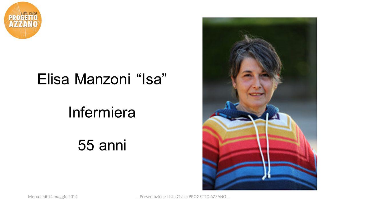 """- Presentazione Lista Civica PROGETTO AZZANO -Mercoledì 14 maggio 2014 Elisa Manzoni """"Isa"""" Infermiera 55 anni"""