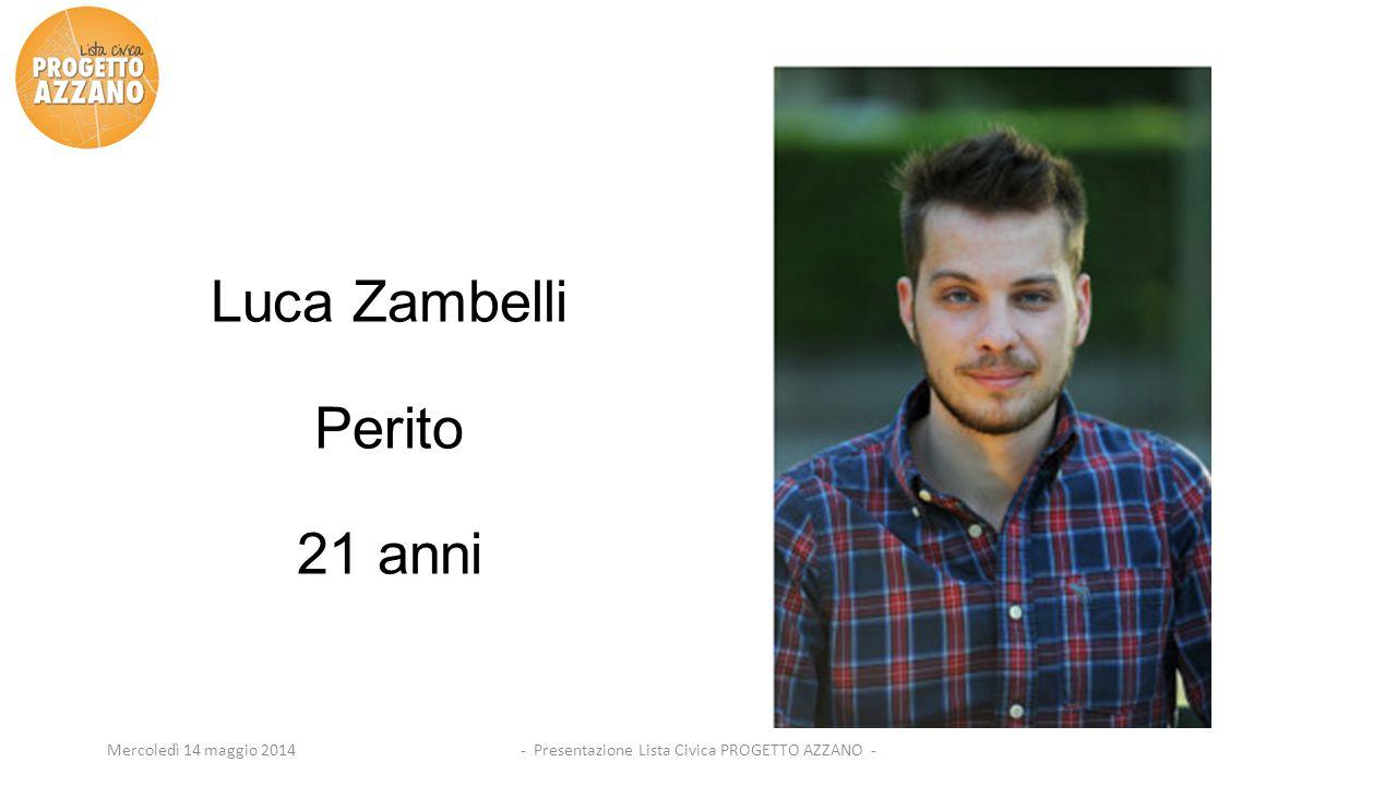 - Presentazione Lista Civica PROGETTO AZZANO -Mercoledì 14 maggio 2014 Luca Zambelli Perito 21 anni