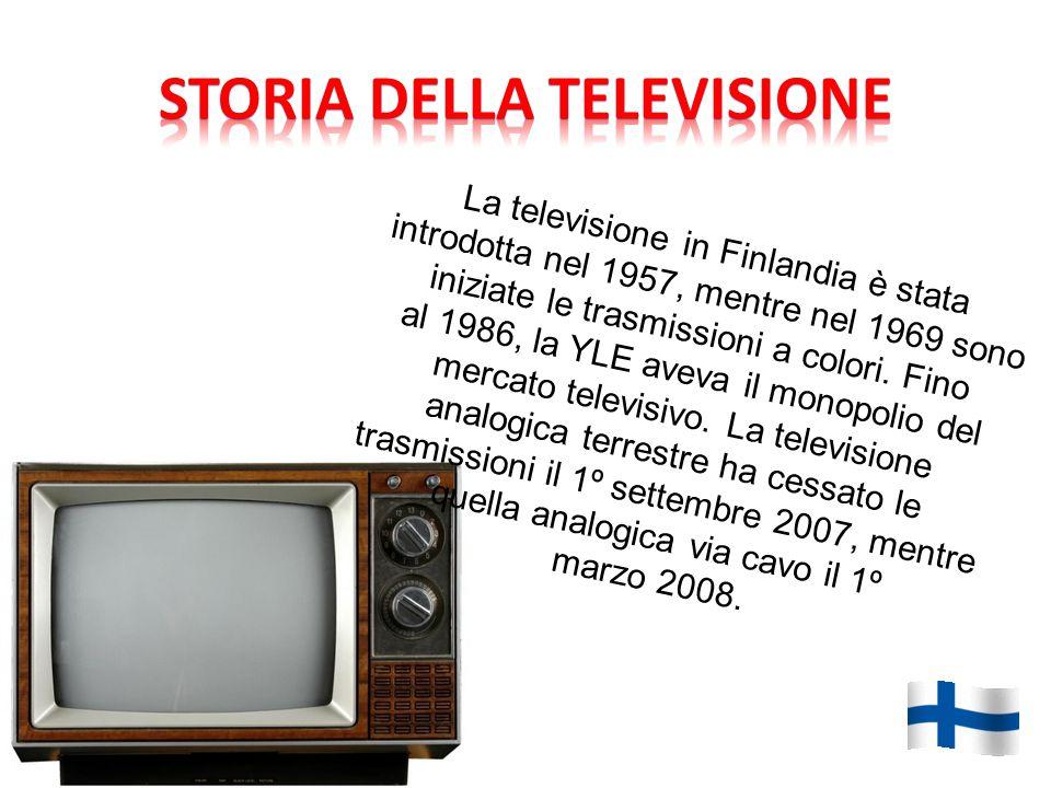 La televisione in Finlandia è stata introdotta nel 1957, mentre nel 1969 sono iniziate le trasmissioni a colori.