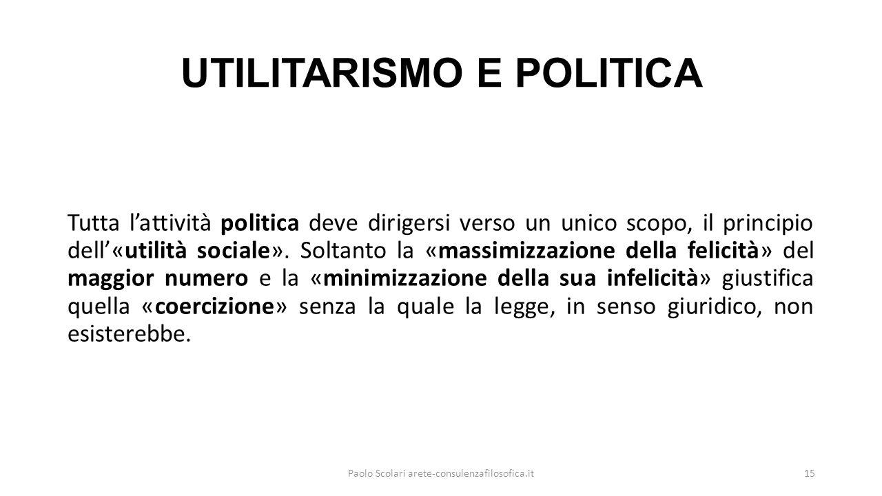 UTILITARISMO E POLITICA Tutta l'attività politica deve dirigersi verso un unico scopo, il principio dell'«utilità sociale».