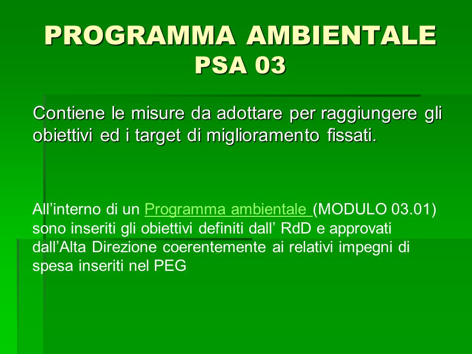 PROGRAMMA AMBIENTALE PSA 03 Contiene le misure da adottare per raggiungere gli obiettivi ed i target di miglioramento fissati. All'interno di un Progr
