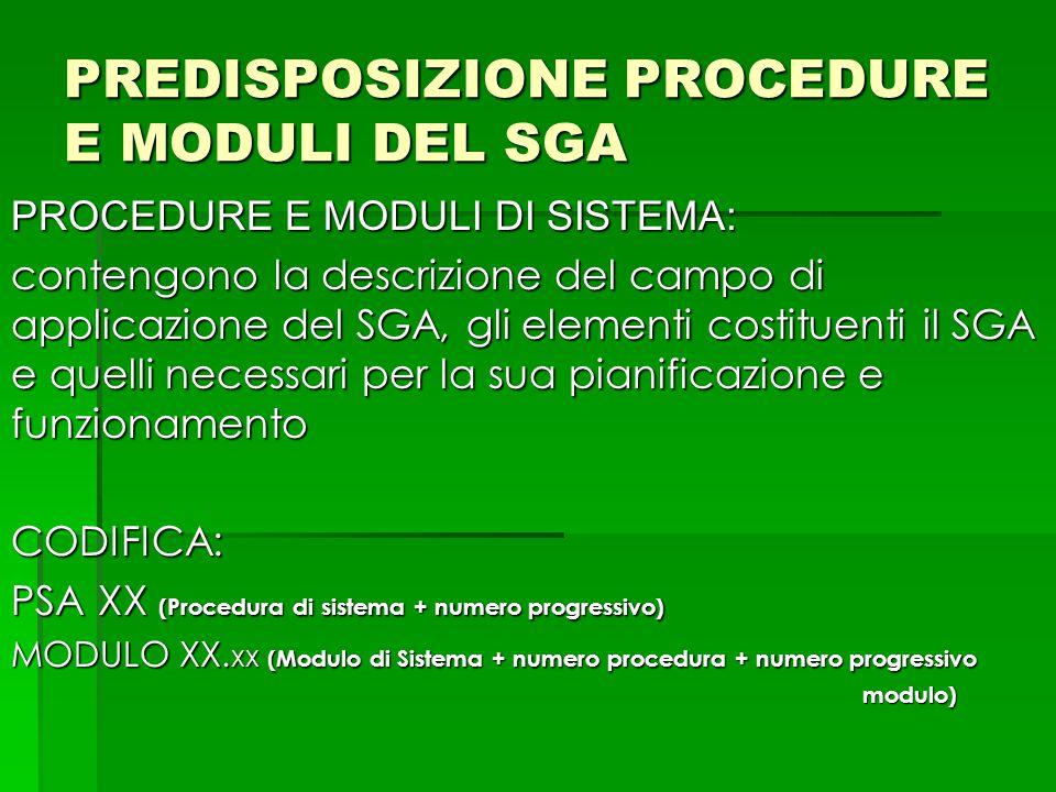 PREDISPOSIZIONE PROCEDURE E MODULI DEL SGA PROCEDURE E MODULI DI SISTEMA: contengono la descrizione del campo di applicazione del SGA, gli elementi co