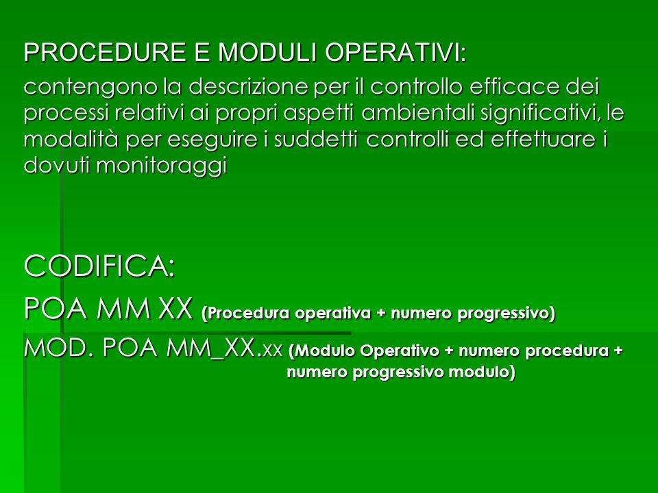 PROCEDURE E MODULI OPERATIVI: contengono la descrizione per il controllo efficace dei processi relativi ai propri aspetti ambientali significativi, le