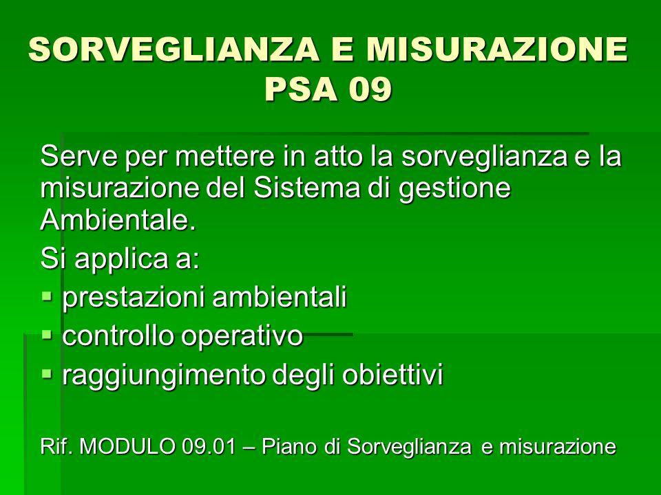SORVEGLIANZA E MISURAZIONE PSA 09 Serve per mettere in atto la sorveglianza e la misurazione del Sistema di gestione Ambientale. Si applica a:  prest
