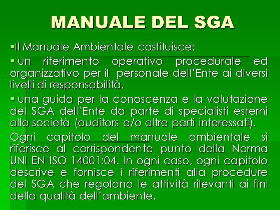 MANUALE DEL SGA  Il Manuale Ambientale costituisce:  un riferimento operativo procedurale ed organizzativo per il personale dell'Ente ai diversi liv