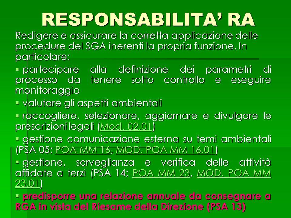 RESPONSABILITA' RA Redigere e assicurare la corretta applicazione delle procedure del SGA inerenti la propria funzione. In particolare:  partecipare