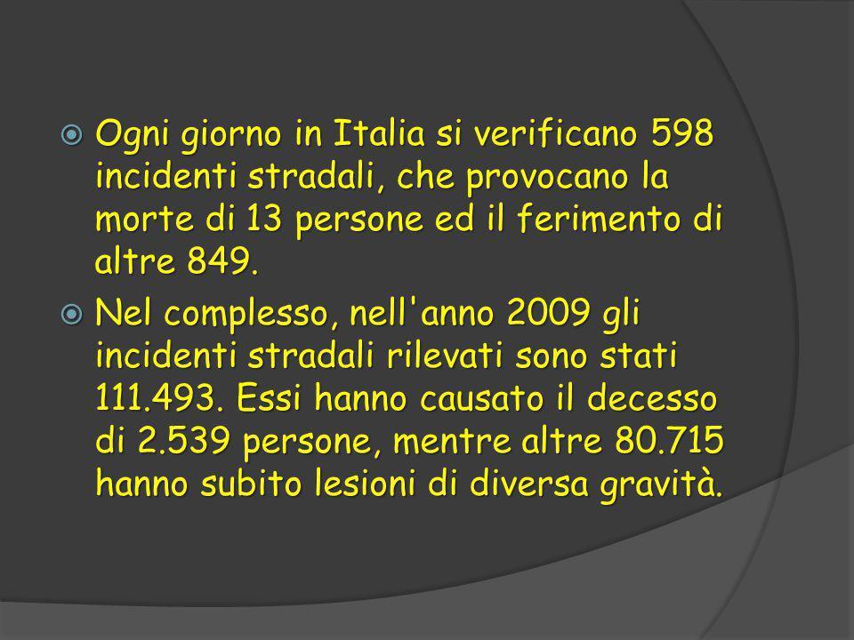  Ogni giorno in Italia si verificano 598 incidenti stradali, che provocano la morte di 13 persone ed il ferimento di altre 849.