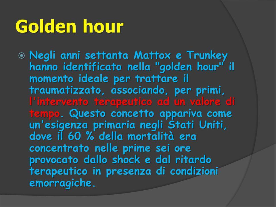 Golden hour  Negli anni settanta Mattox e Trunkey hanno identificato nella golden hour il momento ideale per trattare il traumatizzato, associando, per primi, l intervento terapeutico ad un valore di tempo.