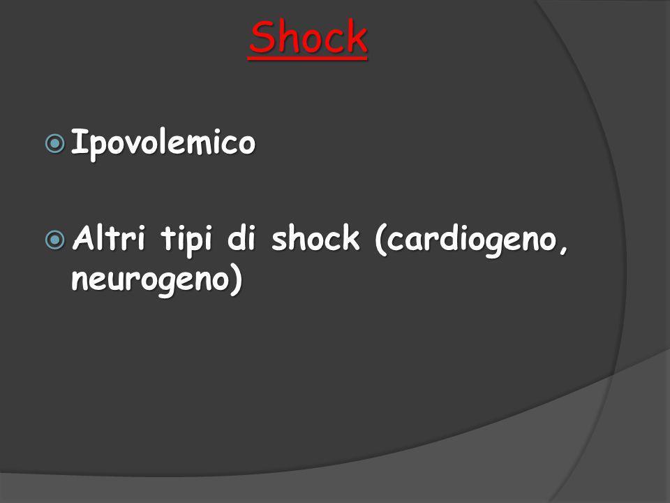 Shock  Ipovolemico  Altri tipi di shock (cardiogeno, neurogeno)