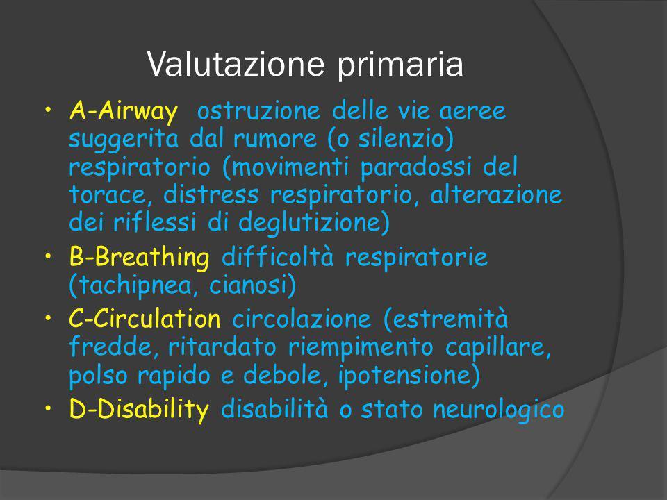 Valutazione primaria A-Airway ostruzione delle vie aeree suggerita dal rumore (o silenzio) respiratorio (movimenti paradossi del torace, distress respiratorio, alterazione dei riflessi di deglutizione) B-Breathing difficoltà respiratorie (tachipnea, cianosi) C-Circulation circolazione (estremità fredde, ritardato riempimento capillare, polso rapido e debole, ipotensione) D-Disability disabilità o stato neurologico