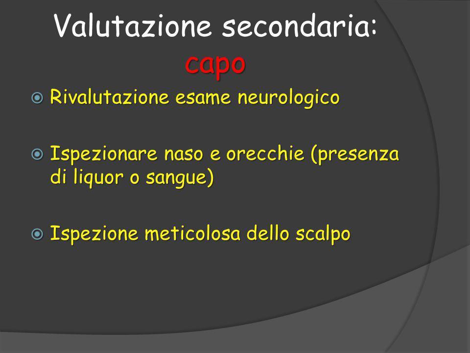  Rivalutazione esame neurologico  Ispezionare naso e orecchie (presenza di liquor o sangue)  Ispezione meticolosa dello scalpo capo Valutazione secondaria: capo