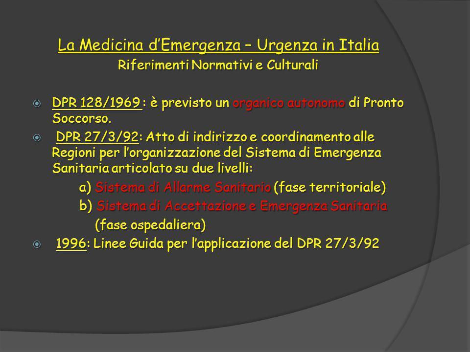 La Medicina d'Emergenza – Urgenza in Italia Riferimenti Normativi e Culturali  DPR 128/1969 : è previsto un organico autonomo di Pronto Soccorso.