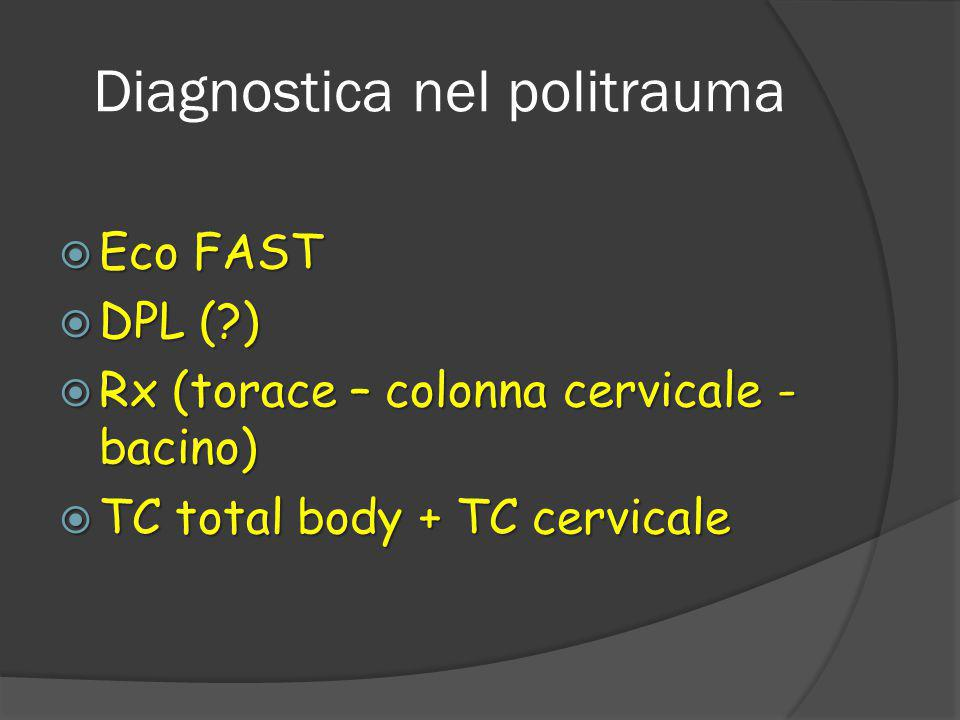 Diagnostica nel politrauma  Eco FAST  DPL (?)  Rx (torace – colonna cervicale - bacino)  TC total body + TC cervicale