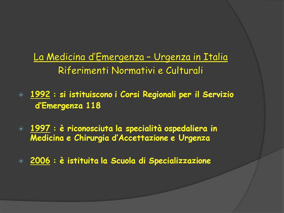 La Medicina d'Emergenza – Urgenza in Italia Riferimenti Normativi e Culturali  1992 : si istituiscono i Corsi Regionali per il Servizio d'Emergenza 118 d'Emergenza 118  1997 : è riconosciuta la specialità ospedaliera in Medicina e Chirurgia d'Accettazione e Urgenza  2006 : è istituita la Scuola di Specializzazione