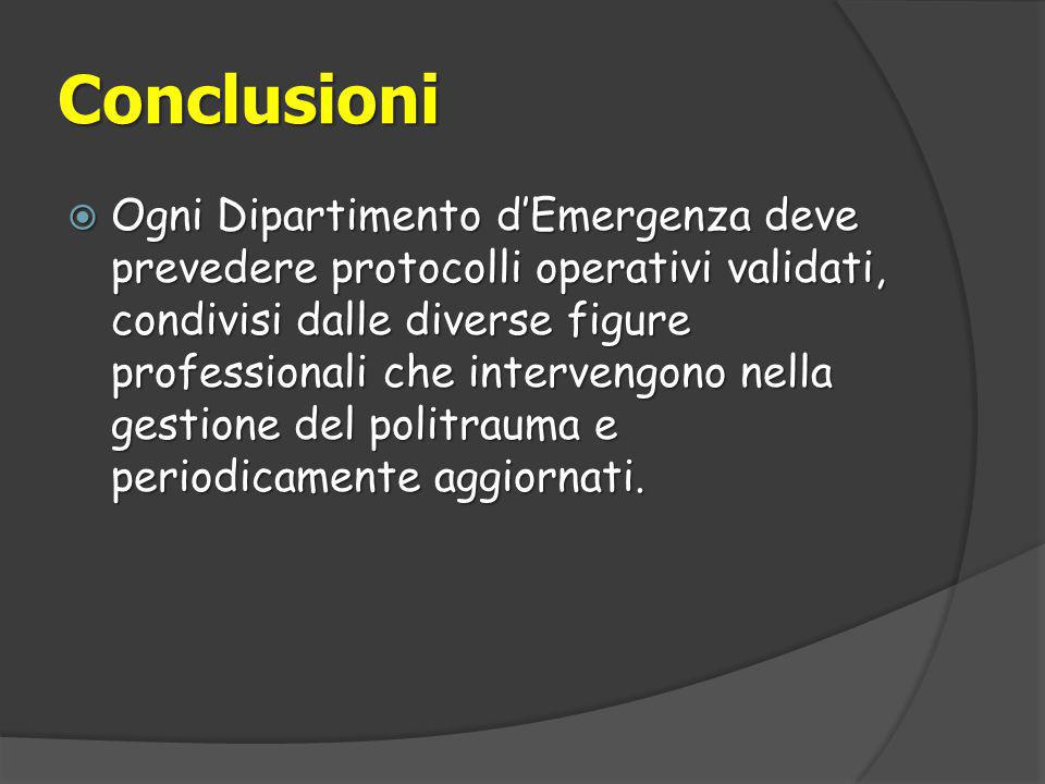 Conclusioni  Ogni Dipartimento d'Emergenza deve prevedere protocolli operativi validati, condivisi dalle diverse figure professionali che intervengono nella gestione del politrauma e periodicamente aggiornati.