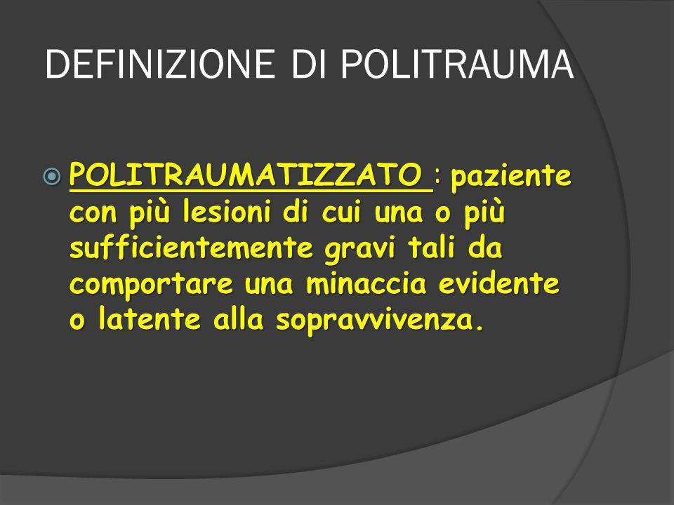 DEFINIZIONE DI POLITRAUMA  POLITRAUMATIZZATO : paziente con più lesioni di cui una o più sufficientemente gravi tali da comportare una minaccia evidente o latente alla sopravvivenza.