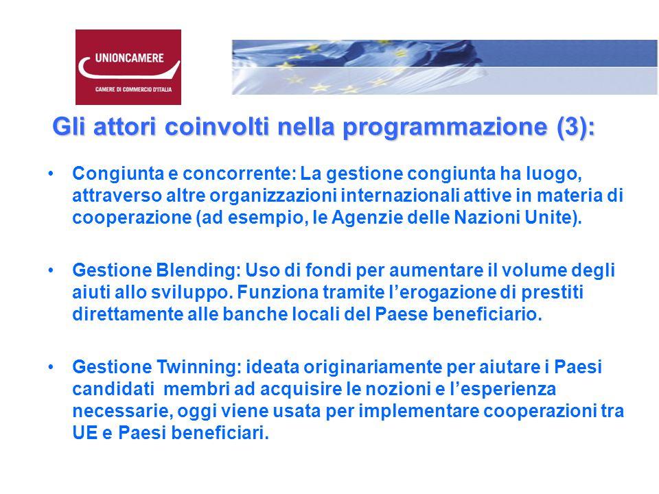 Gli attori coinvolti nella programmazione (3): Congiunta e concorrente: La gestione congiunta ha luogo, attraverso altre organizzazioni internazionali attive in materia di cooperazione (ad esempio, le Agenzie delle Nazioni Unite).