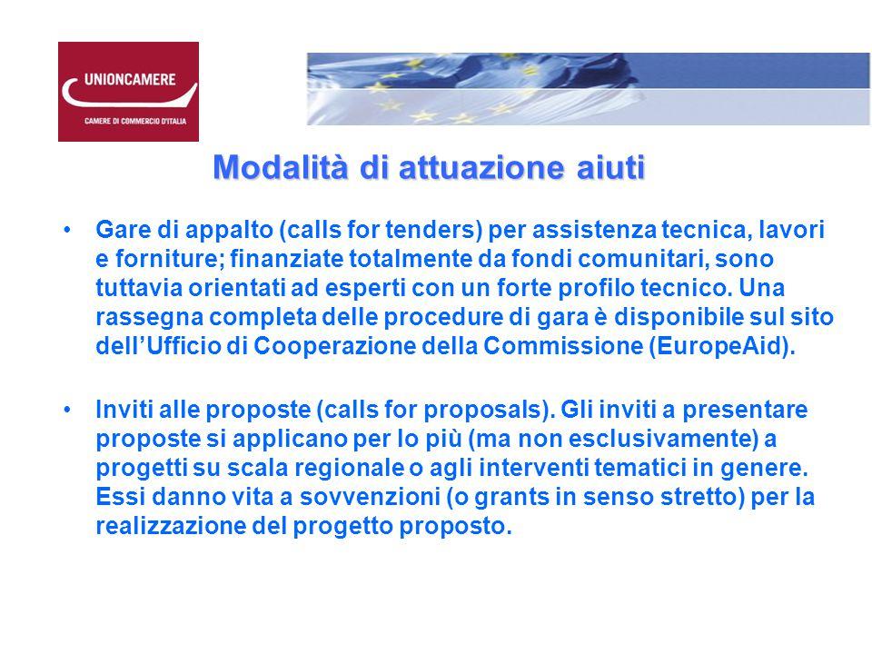Modalità di attuazione aiuti Gare di appalto (calls for tenders) per assistenza tecnica, lavori e forniture; finanziate totalmente da fondi comunitari, sono tuttavia orientati ad esperti con un forte profilo tecnico.