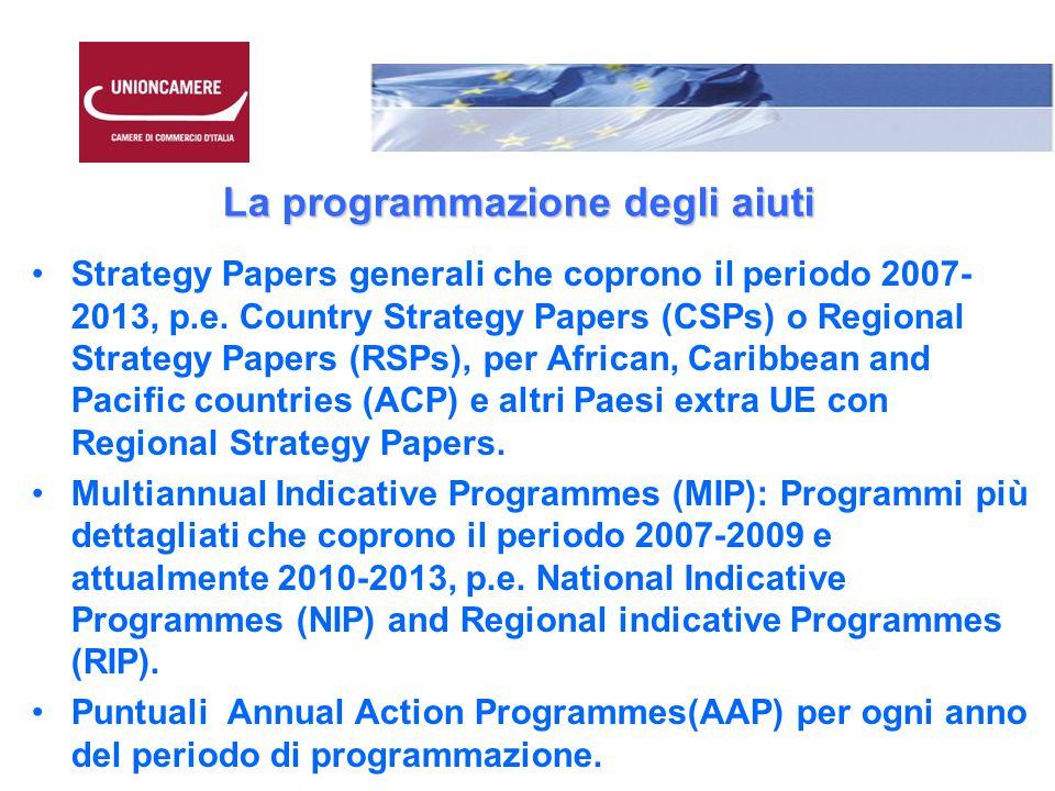 La programmazione degli aiuti Strategy Papers generali che coprono il periodo 2007- 2013, p.e.
