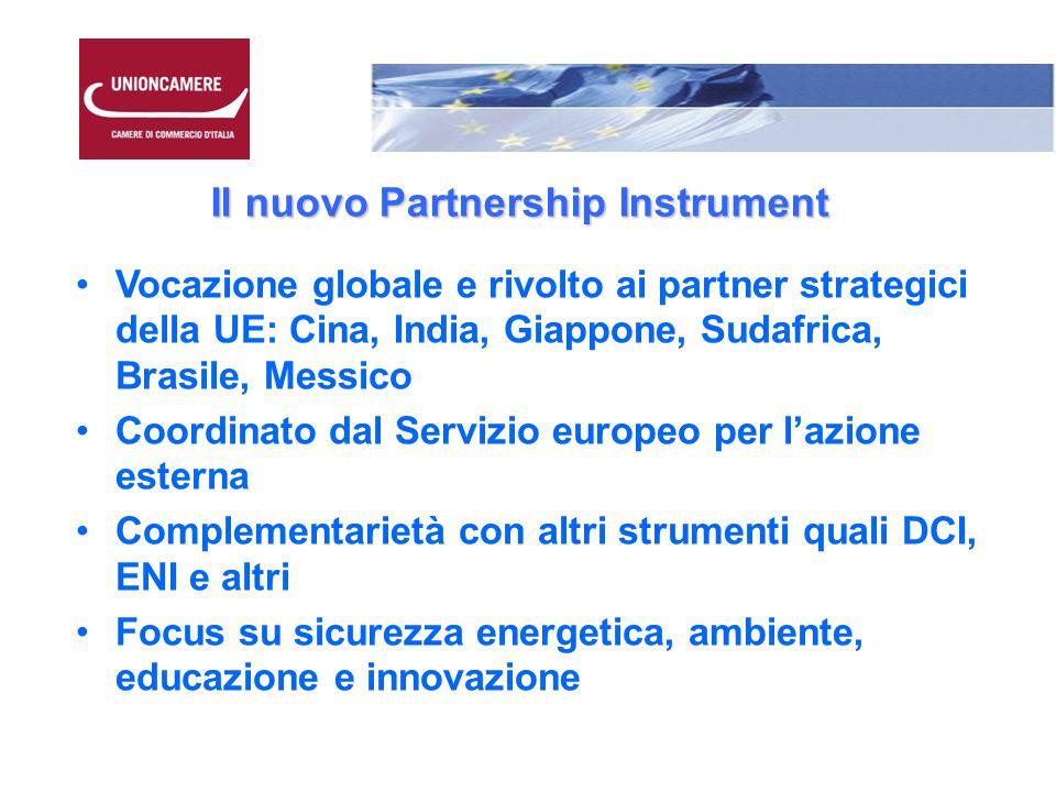 Il nuovo Partnership Instrument Vocazione globale e rivolto ai partner strategici della UE: Cina, India, Giappone, Sudafrica, Brasile, Messico Coordinato dal Servizio europeo per l'azione esterna Complementarietà con altri strumenti quali DCI, ENI e altri Focus su sicurezza energetica, ambiente, educazione e innovazione