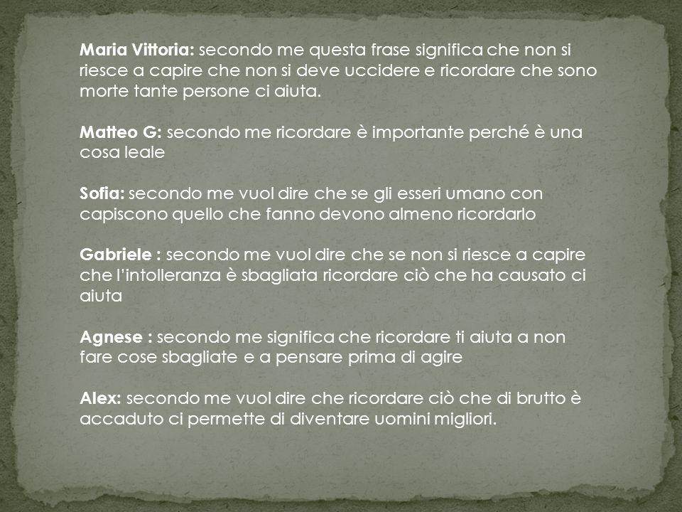 SE COMPRENDERE E' IMPOSSIBILE RICORDARE E' NECESSARIO (P. LEVI)