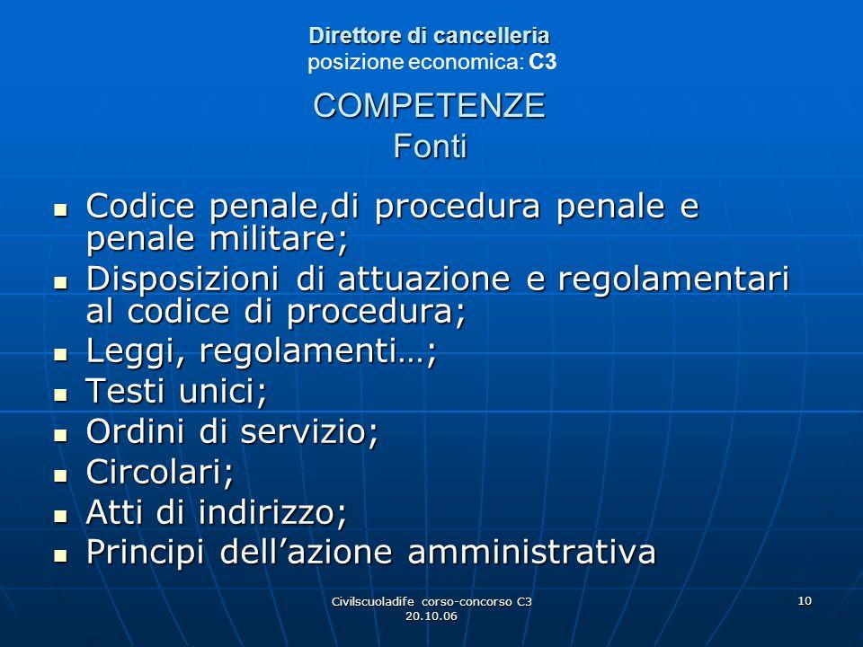 Civilscuoladife corso-concorso C3 20.10.06 10 Direttore di cancelleria COMPETENZE Fonti Direttore di cancelleria posizione economica: C3 COMPETENZE Fo