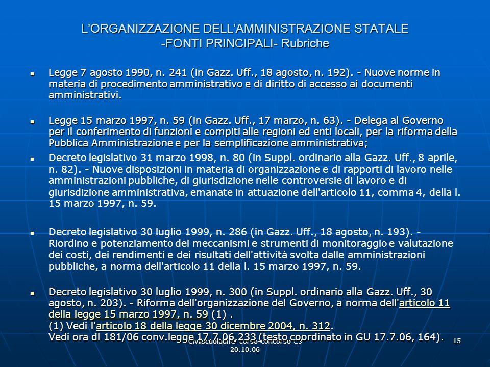 Civilscuoladife corso-concorso C3 20.10.06 15 L'ORGANIZZAZIONE DELL'AMMINISTRAZIONE STATALE -FONTI PRINCIPALI- Rubriche Legge 7 agosto 1990, n. 241 (i