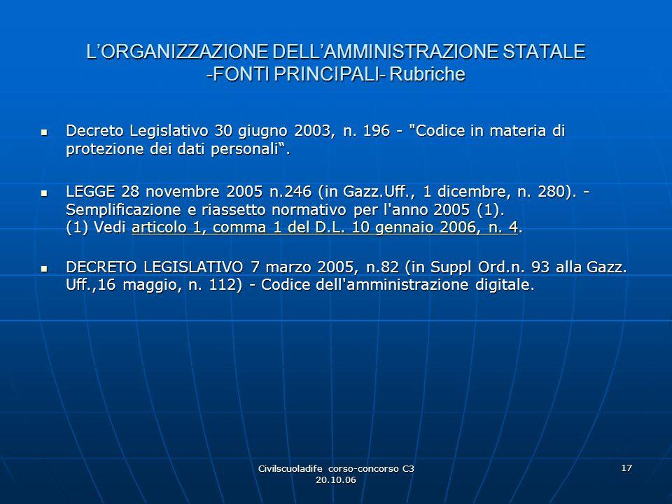 Civilscuoladife corso-concorso C3 20.10.06 17 L'ORGANIZZAZIONE DELL'AMMINISTRAZIONE STATALE -FONTI PRINCIPALI- Rubriche Decreto Legislativo 30 giugno