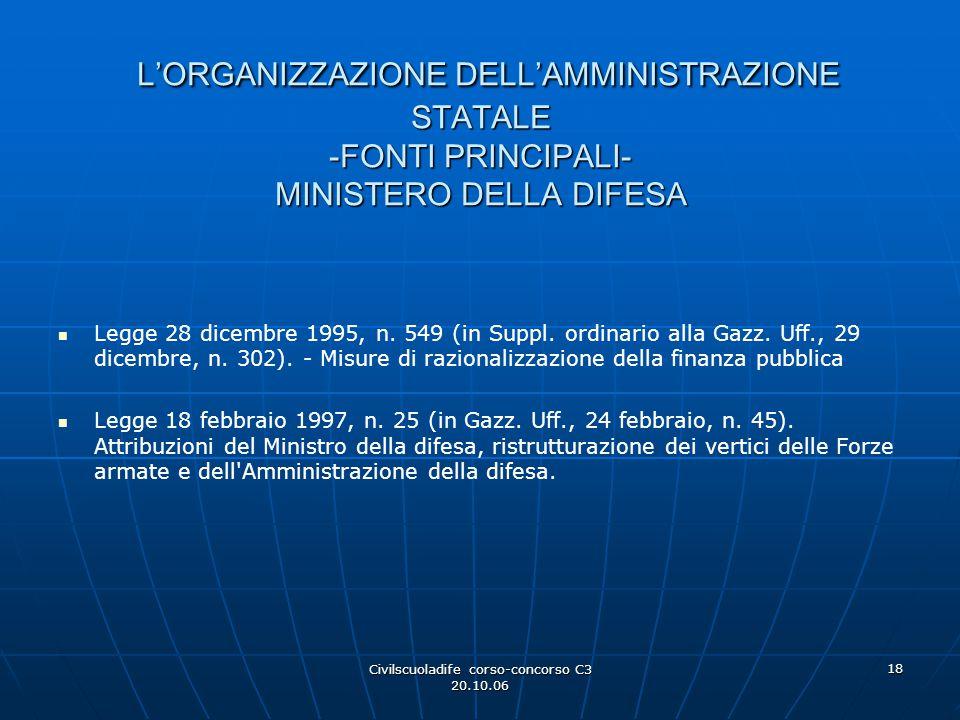 Civilscuoladife corso-concorso C3 20.10.06 18 L'ORGANIZZAZIONE DELL'AMMINISTRAZIONE STATALE -FONTI PRINCIPALI- MINISTERO DELLA DIFESA L'ORGANIZZAZIONE