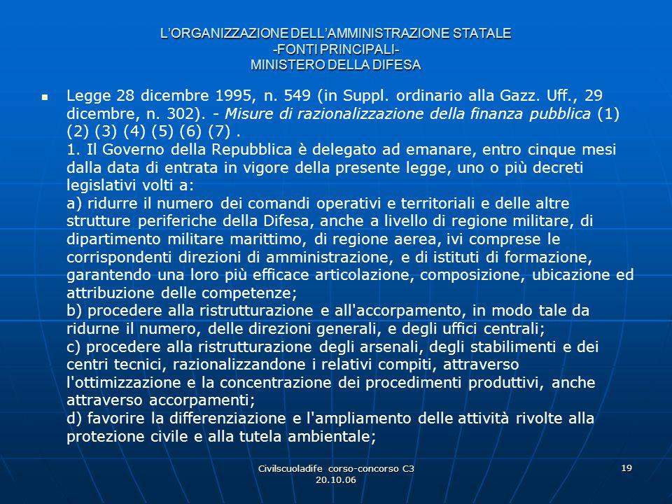 Civilscuoladife corso-concorso C3 20.10.06 19 L'ORGANIZZAZIONE DELL'AMMINISTRAZIONE STATALE -FONTI PRINCIPALI- MINISTERO DELLA DIFESA Legge 28 dicembr