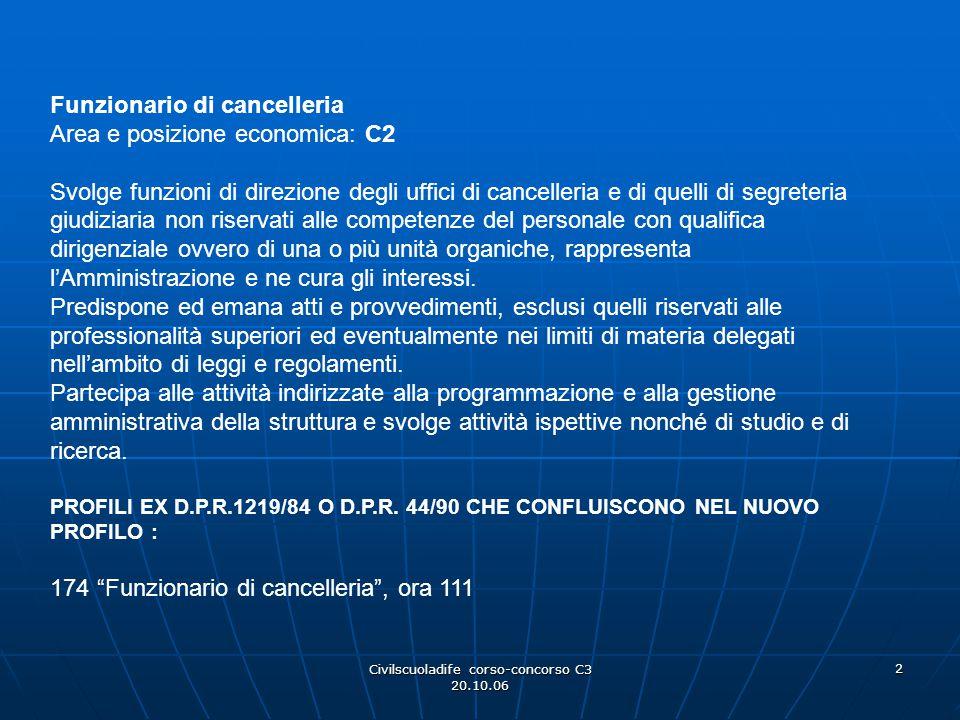 Civilscuoladife corso-concorso C3 20.10.06 2 Funzionario di cancelleria Area e posizione economica: C2 Svolge funzioni di direzione degli uffici di ca