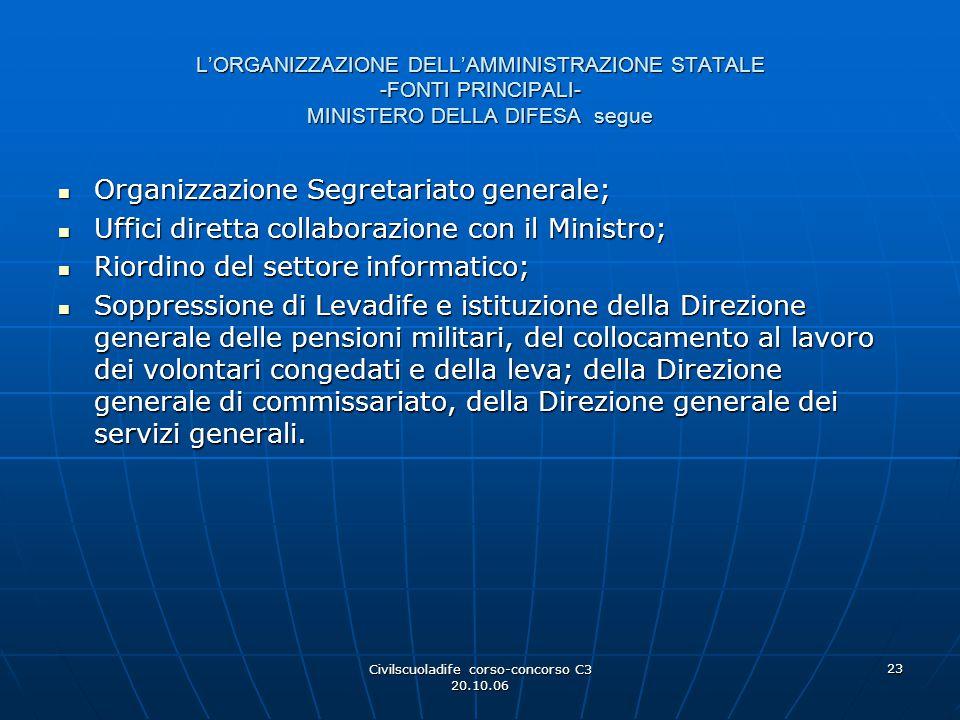 Civilscuoladife corso-concorso C3 20.10.06 23 L'ORGANIZZAZIONE DELL'AMMINISTRAZIONE STATALE -FONTI PRINCIPALI- MINISTERO DELLA DIFESA segue Organizzaz