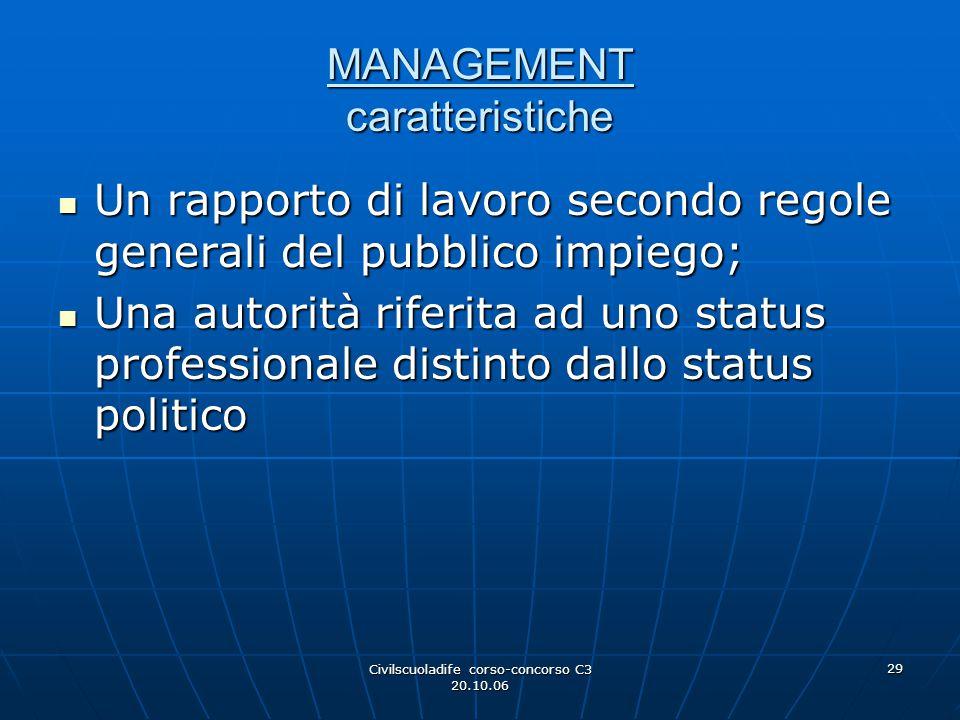 Civilscuoladife corso-concorso C3 20.10.06 29 MANAGEMENT caratteristiche Un rapporto di lavoro secondo regole generali del pubblico impiego; Un rappor